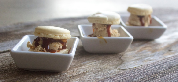 Salted Caramel Macaron Ice Cream Sandwiches by Pampered Paleo