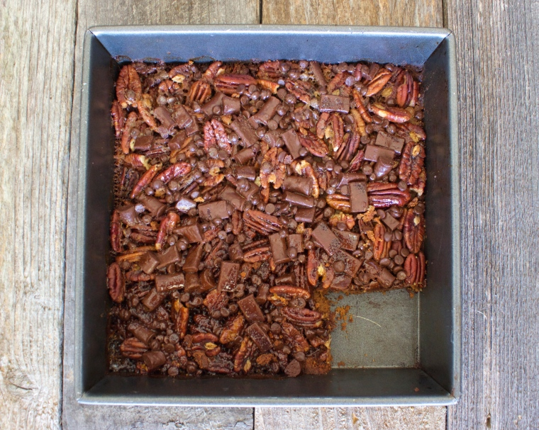 Chocolate Caramel Pecan Pie Bars by PamperedPaleo